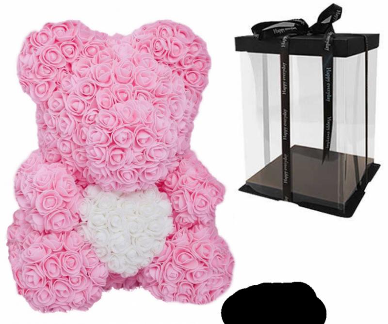 Мишка из роз с сердцем в подарочной коробке, 40 см, светло-розовый