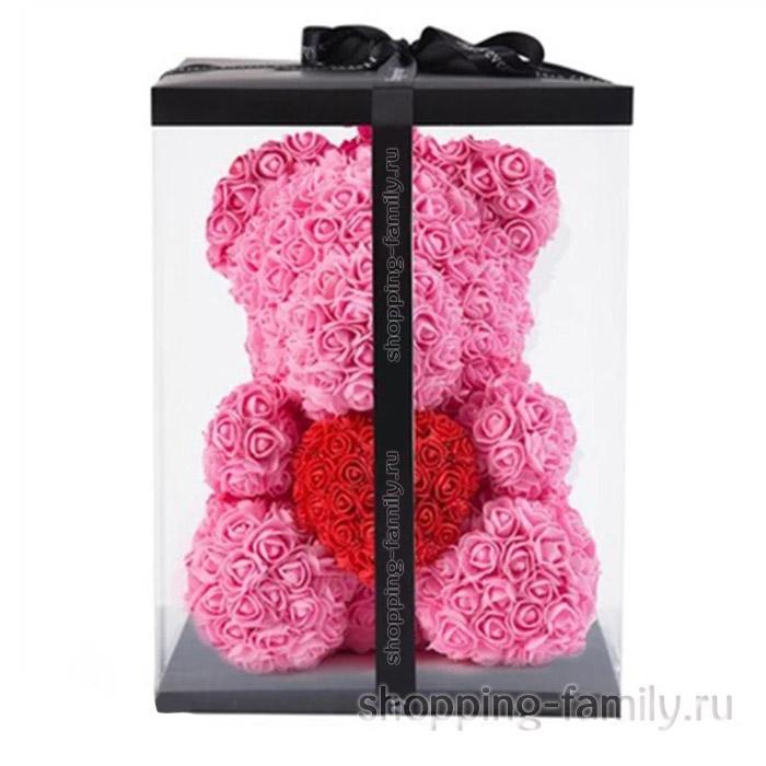 Темно-розовый Мишка из роз с сердцем в подарочной коробке, 40 см