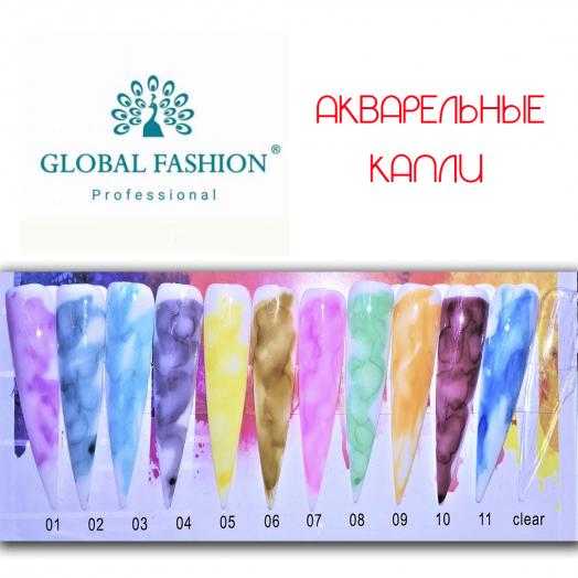 Акварельные краски (капли) Глобал Фэшн 10 мл зеленый 8