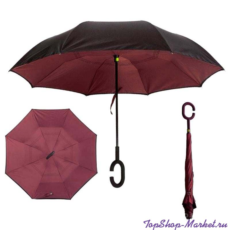 Зонт Наоборот, Рисунок: Бордовый однотонный