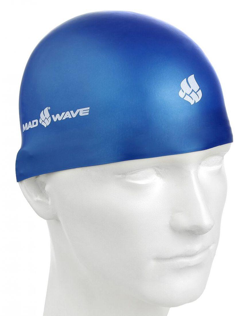 Шапочка для плавания силиконовая Mad Wave SOFT (синяя)