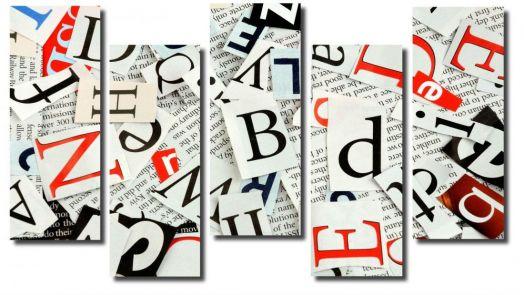 Модульная картина Абстракция Буквы