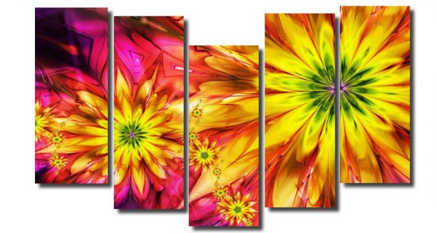 Модульная картина Абстракция цветы