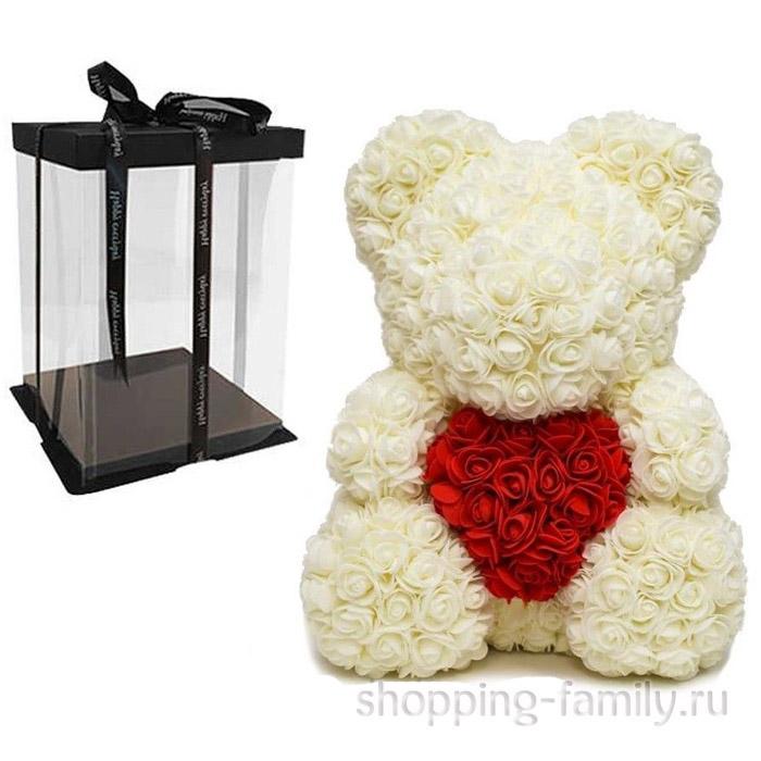 Кремовый Мишка из роз с сердцем в подарочной коробке, 40 см