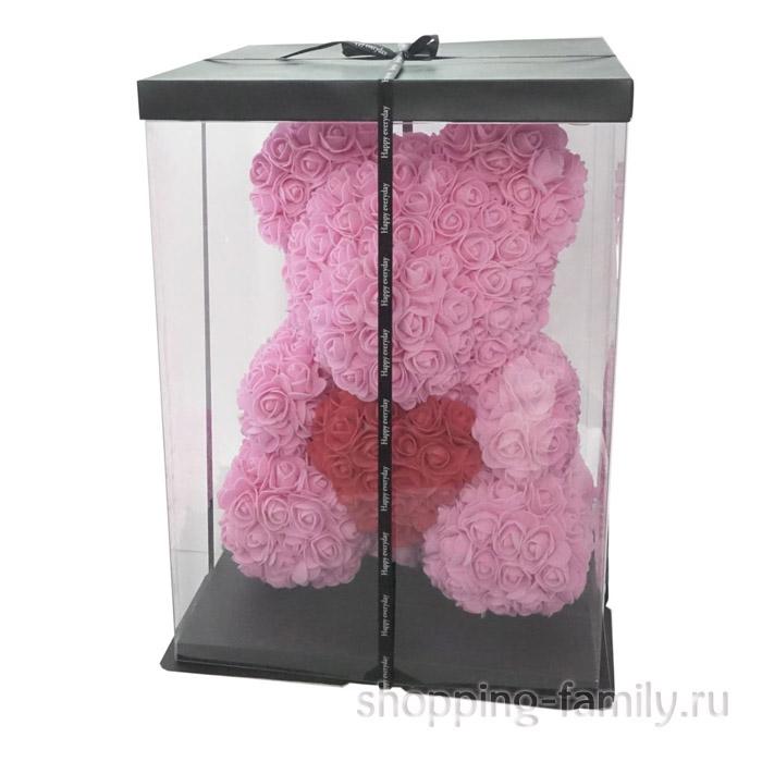 Светло-розовый Мишка из роз с сердцем в подарочной коробке, 40 см