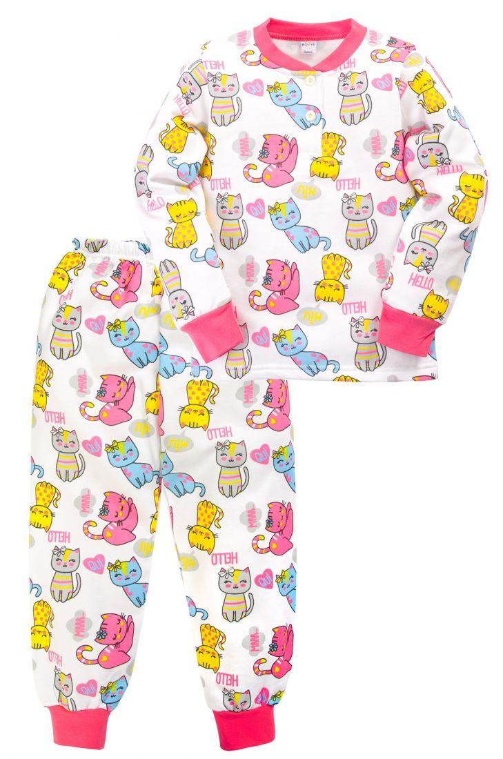 Пижама с начесом для девочки 5 лет Кошки