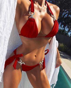 купальник красный стразы, размер  S M , модель 94
