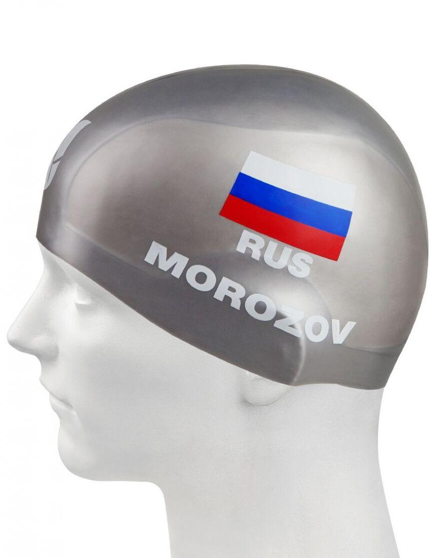 Шапочка для плавания силиконовая Mad Wave MOROZOV R-Cap (серебро)