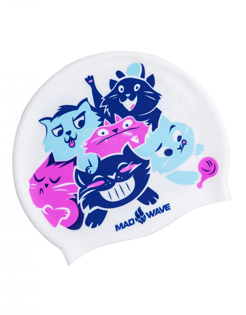 Шапочка для плавания силиконовая Mad Wave CATS
