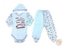 """Костюм для новорожденных: чепчик, боди-лодочка, ползунки dA2-KS151(e)-ITpk с надписью про деда. """"Мамин Малыш"""" код 01536-1"""