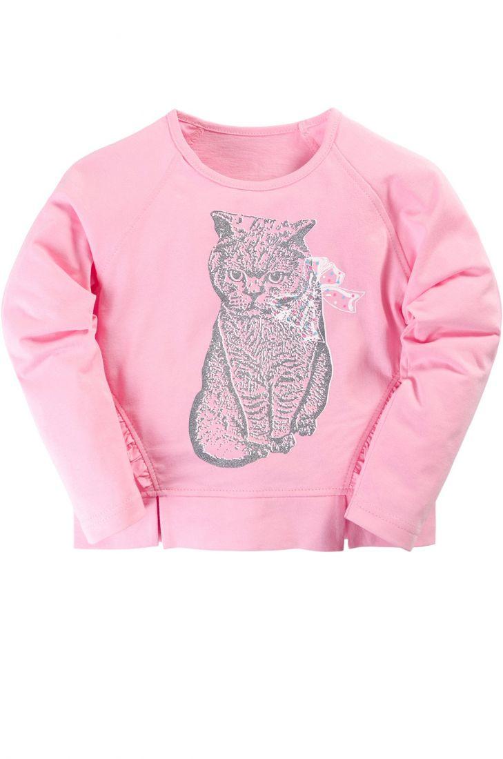 Джемпер для девочки розового цвета Кот