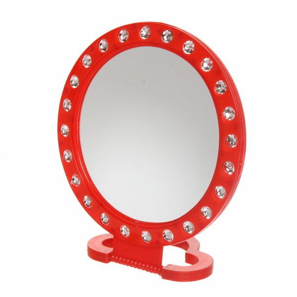 Круглое подвесное/настольное зеркало со стразами, 18.5 см, Цвет: Красный
