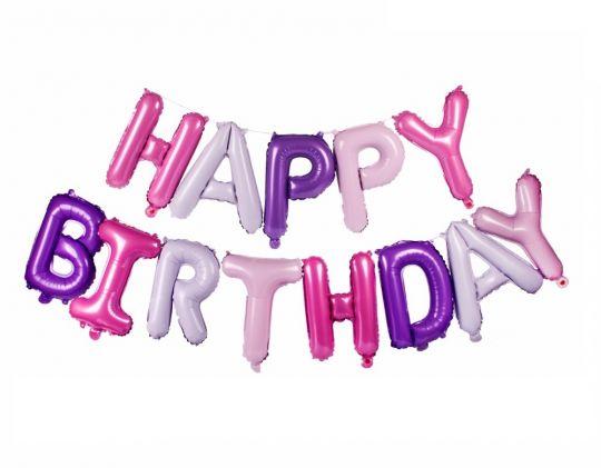 Набор нежных букв Happy Birthday фольгированный с гелием