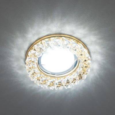 Светильник встраиваемый Fametto DLS-P121-2001 MR16 Peonia Круг Металл золото 85(55)x43 Стекло Прозрачный