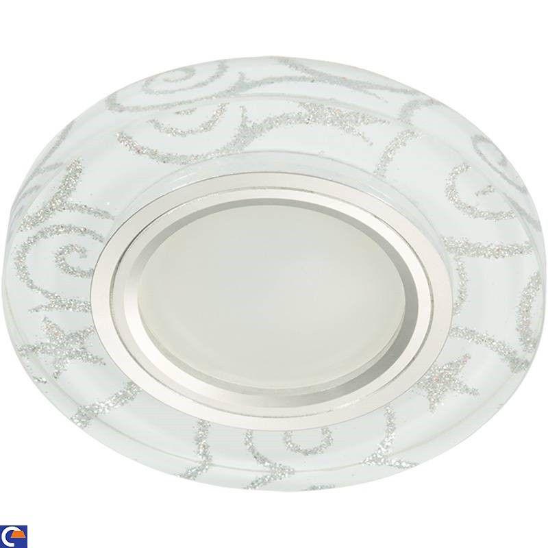 Светильник встраиваемый Fametto DLS-L202-2001 GU5.3 Luciole стекло 90(65)x20 бел/серебр/хром, подсветка LED3W