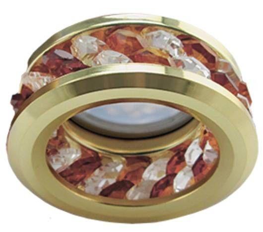 Светильник встраиваемый Ecola DL1656 MR16 GU5.3 с хрусталиками 2 ряда Прозрачный Янтарь/Золото 54x85 FA1656EFF