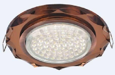 Светильник встраиваемый Ecola GX53-H4 св-к Стекло Круг с вогнутыми гранями черная медь-янтарь 38x126 FA53RCECH