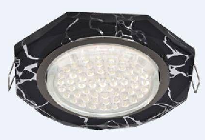 Светильник встраиваемый Ecola GX53-H4 св-к Стекло 8-угольник с прямыми гранями хром-хром на черном 38x133 FB538AECH