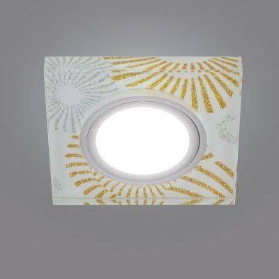 Светильник встраиваемый Fametto DLS-P201-2001 MR16 св-к встр Peonia Квадрат Металл 90(65)x20 Стекл Золото/Серебр/Бел