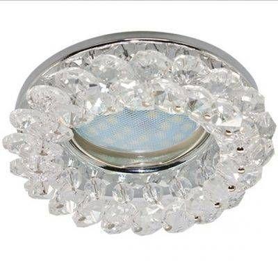 Светильник встраиваемый Ecola CD4141 MR16 GU5.3 круглый с хрусталиками Прозрачный и Розовый/Золото 50x90 FF1618EFY
