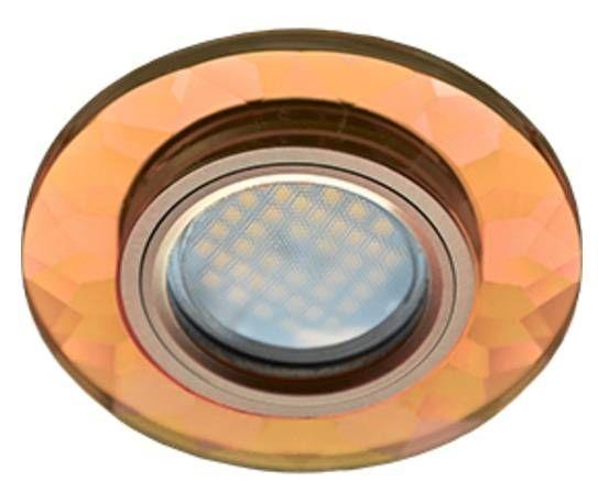 Светильник встраиваемый Ecola DL1654 MR16 GU5.3 стекло граненый Янтарь/Черненая медь 25x90 FA1654EFF