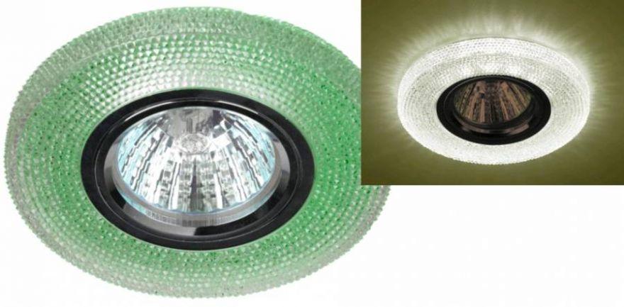 Светильник встраиваемый ЭРА DK LD1 GR MR16 GU5.3 220V круг, d100 мм зеленая св/д подсветка 3W