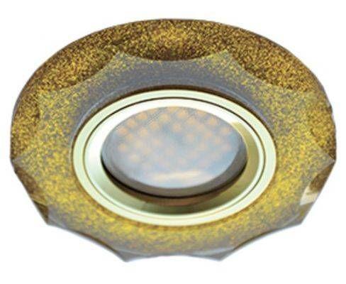 Светильник встраиваемый Ecola DL1653 MR16 GU5.3 стекло с вогнутыми гранями Золотой блеск/Золото 25x90 FP1653EFF