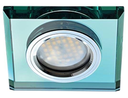 Светильник встраиваемый Ecola DL1651 MR16 GU5.3 квадратный стекло Изумруд/Хром 25x90x90 FR1651EFF