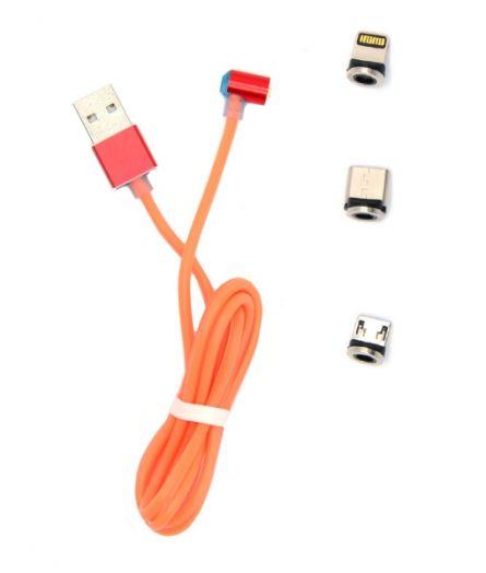 Кабель USB 2А магнитный MG-113 (microUSB/Type-c/Iph) 1м