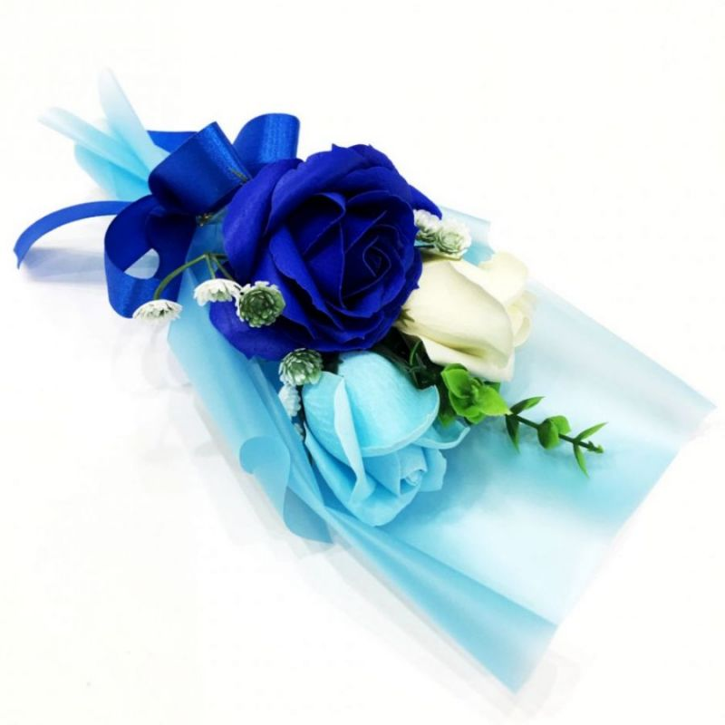 Подарочное парфюмированное мыло Букет 3 розы в упаковке, 25 см, цвет синий