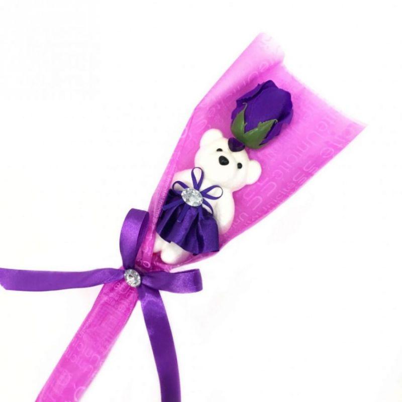 Сувенир ароматизированная роза из мыла с мишкой, 45 см, цвет фиолетовый