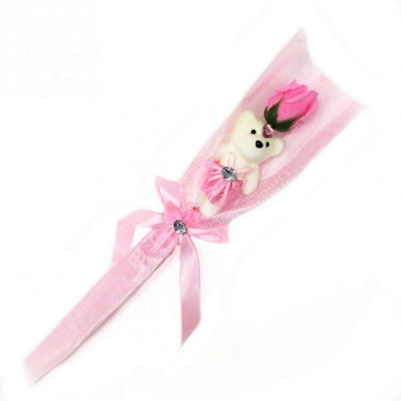 Сувенир ароматизированная роза из мыла с мишкой, 45 см, цвет светло-розовый