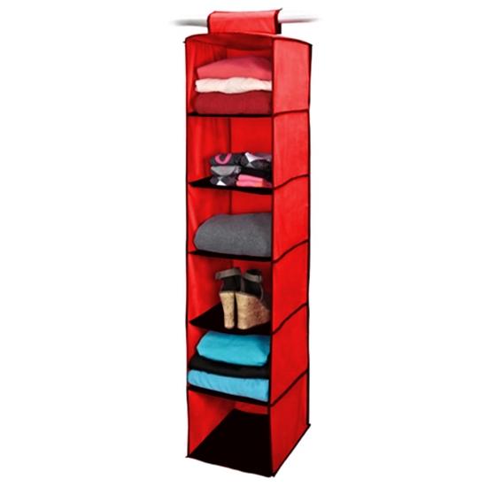 Органайзер на 6 полок Hanging Closet Arganizer, цвет красный