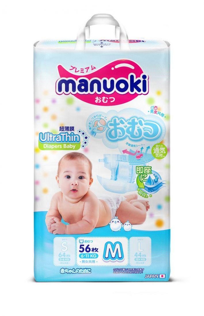 Подгузники Manuoki UltraThin (Ультратонкая серия) M 6-11кг, 56 шт