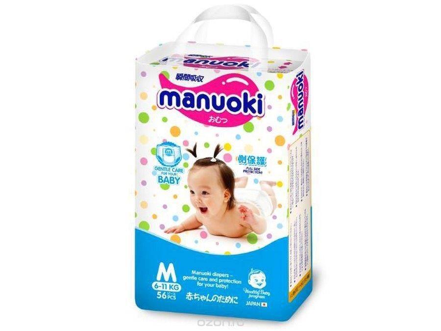 Подгузники-трусики Manuoki M 6-11кг, 56 шт