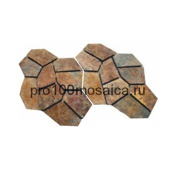 PAV-106 сланец. Брусчатка серия PAVING,  размер, мм: 4шт-1 кв.м, 10~15 (NS Mosaic)