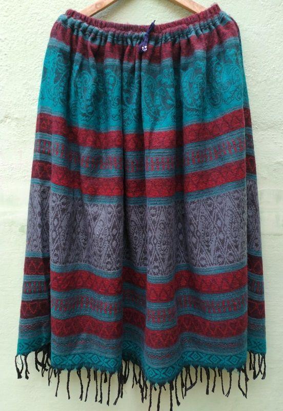 Длинная тёплая голубая юбка с узором (отправка из Индии)