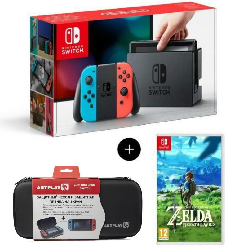 Игровая приставка Nintendo Switch (neon red/neon blue) + The Legend of Zelda + Бонус (Чехол + Плёнка)