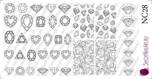 Слайдер дизайн NC28 - Геометрия, Алмаз, Трафарет, черный