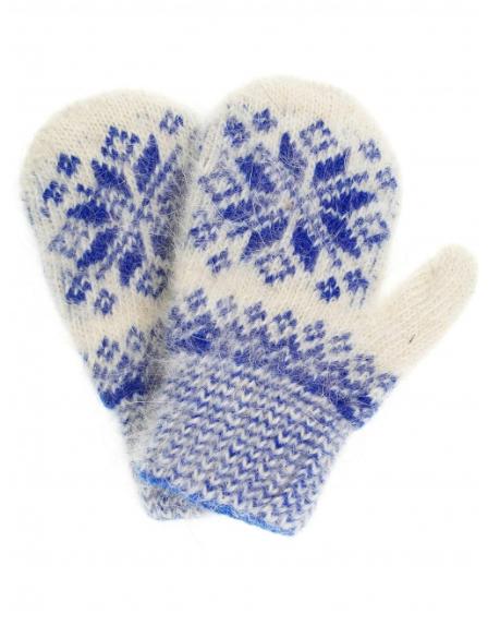 Пуховые варежки бело-синего цвета