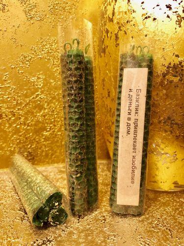 Базилик 3 шт Свечи из вощины ,привлекает изобилие и деньги в дом.
