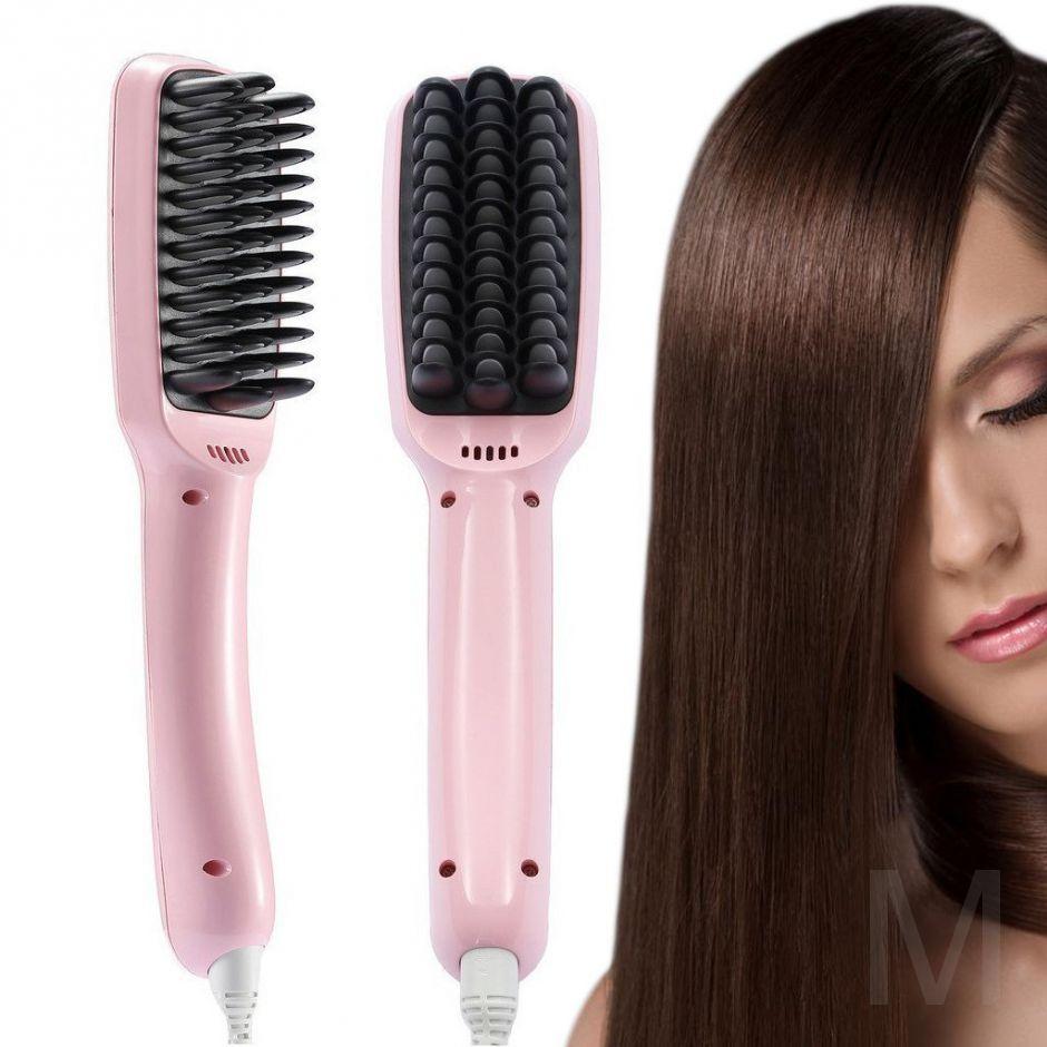 Расческа выпрямитель для волос PTC HEATING 2 В 1 Розовая