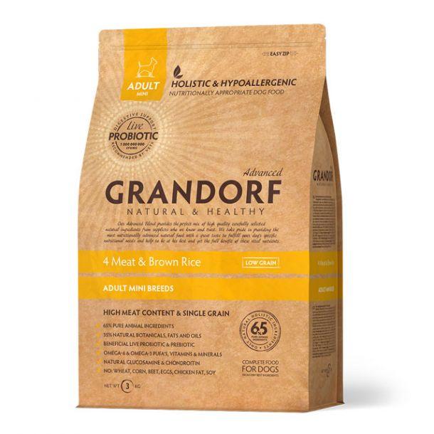 Корм сухой GRANDORF 4Meat & Brown Rice Adult Mini Четыре вида мяса с бурым рисом для взрослых собак мелких пород 3 кг