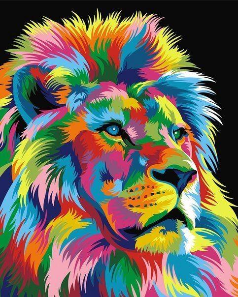 """Радужный король лев"" живопись на холсте 40х50см"