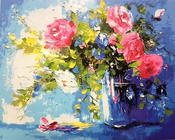 """""""Розы в стаканчике"""" живопись на холсте 40х50см"""