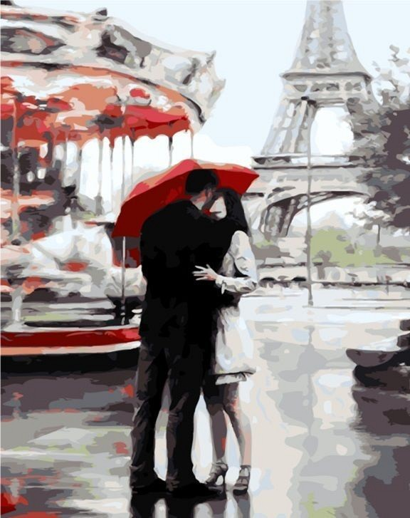 """""""Под зонтом счастья"""" живопись на холсте 40х50см"""