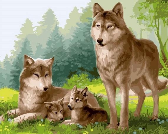 """""""Волчье семейство"""" живопись на холсте 40х50см"""