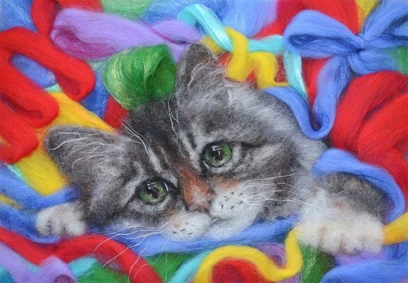 """""""Котик"""" живопись на холсте 40х50"""