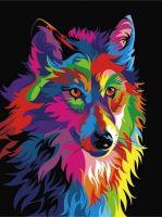 """""""Радужный волк"""" живопись на холсте 30х40см"""