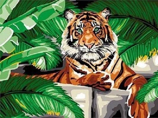 """""""Тигр на отдыхе"""" живопись на холсте 30х40см"""